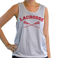 Girls Racerback Pinnie Lacrosse With Crossed Sticks Red | Lacrosse Racerbacks | Lacrosse Pinnies | Lacrosse Tank Tops | Pinnies for Lacrosse Players