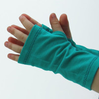 Toddler Arm Warmers in Mediterranean Green - Organic Cotton Soy Fingerless Gloves