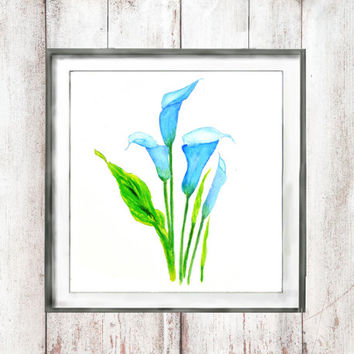 Vintage Botanical Print Watercolor Print blue calla lily floral arts wall decor home decor wall art flower digital downlaod watercolor art