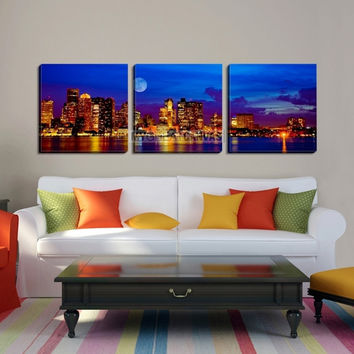 Large Wall Art BOSTON Canvas Print - Boston City with Wonderful Moon Landscape and Skyscrapers by Sea - MC90