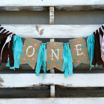Shabby Chic Birthday Rag Garland, Birthday Banner, Highchair Birthday Decoration, Birthday Photo Prop, Birthday Decoration