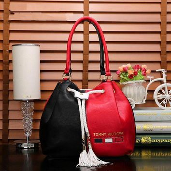 ONETOW Tommy Hilfiger' Fashion Multicolor Tassel Drawstring Bucket Bag Women Handbag Big Single Shoulder Bag