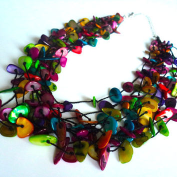 Rainbow Shell Necklace by Lunarpearl on Etsy