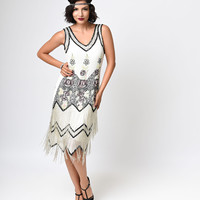 Iconic by UV Ivory & Black Beaded Rose Bessie Chiffon Fringe Flapper Dress