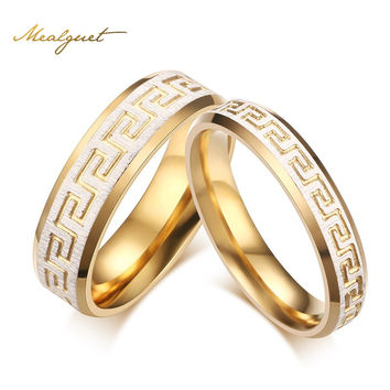 Meaeguet wedding ring gold color greek key pattern couple rings promise love for engagement jewelry