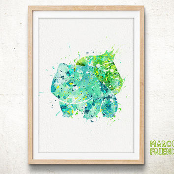 Bulbasaur, Pokemon - Watercolor, Art Print, Home Wall decor, Watercolor Print, Pocket Monsters Poster