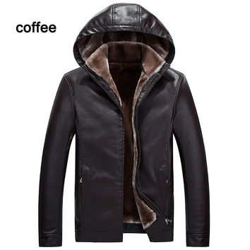 Winter Mens Leather Fur Coat Men's Leather Jacket
