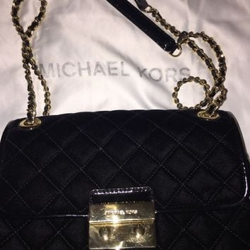 Michael Kors MK Sloan Large Quilted Suede Chain Shoulder Bag BLACK ❤️$275❤️