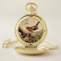 Vintage Wild Bird Illustration with Text Pocket Watch