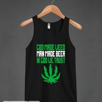 God Made Weed (8bit) (Tank)-Unisex Black Tank
