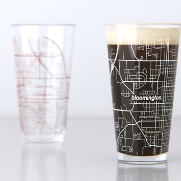 Bloomington, IN - Indiana University - College Town Map Pint Glass Set
