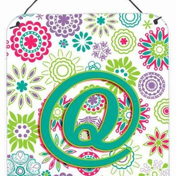 Letter Q Flowers Pink Teal Green Initial Wall or Door Hanging Prints CJ2011-QDS1216