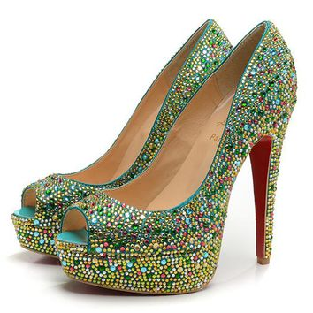 Christian Louboutin Fashion Edgy Diamond Multicolor Red Sole Heels Shoes