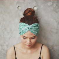 Fern - Hippie Turban Twist Headband// Floral and Leaves Green lace// Summer Garden collection