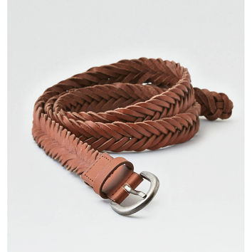 AEO Braided Leather Belt, Black