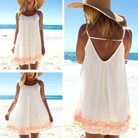 springbuy Size S-XXXL Women Casual Sleeveless Chiffon Strap Summer Beach Short Mini Dress Sundress White 0924 = 5657622145