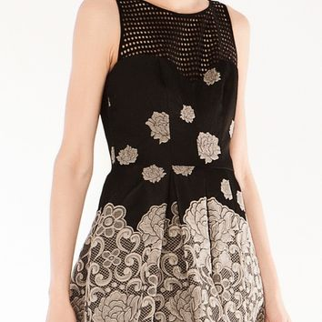VENDOME JACQUARD DRESS- BLACK/WHITE
