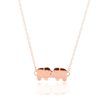 14k Rose Gold Plated Sterling Silver Elephants with Interlocking Trunks CZ Necklace