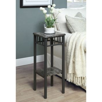 Grey Marble Look & Charcoal Metal Plant Stand