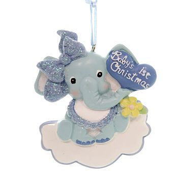 Holiday Ornaments BABYS 1ST CHRISTMAS ELEPHANT Ornament First Boy Blue H5147b