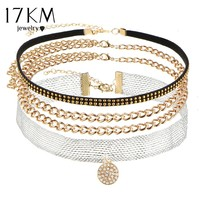 17KM 2017 New Sexy Multilayer Crystal Anchor Tassel Choker Necklace for Women Tatto Choker Bib Collar Maxi Tree Boho Jewelry