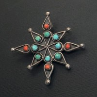 Old Pawn Vintage NATIVE American TURQUOISE Cross Star Brooch Snake Eye