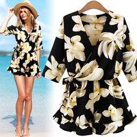 Simple - Lily flower printed one-piece Beach Casual Dress c0016
