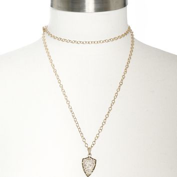Marlyn Schiff Long Chain w/ Small Shield
