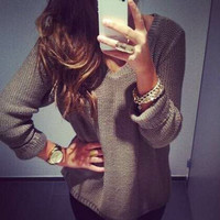 New Ladies Sexy V-neck Long Sleeve Winter Smart Jumper Pullover Top Sweater