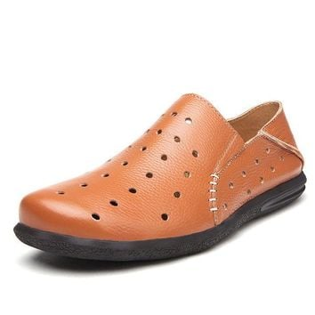 Men Hole Breathable Two Ways Wearing Soft  Leather Casual Loafers