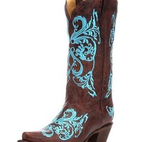 Corral Women's Turquoise Dahila Embroidered Cowgirl Boot Snip Toe