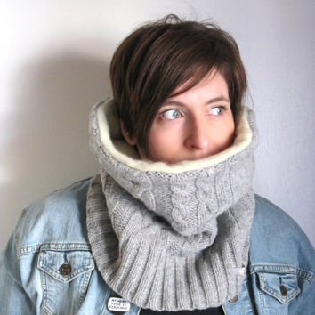 Gray Cabled Cowl Infinity Scarf in Wool and Cashmere : Upcycled Recycled Repurposed Eco Friendly
