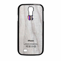 Apple Logo On White Wood Colorful Samsung Galaxy S4 Case