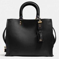 COACH Shopping Tote Handbag Shoulder Leather Bag For Women Black G