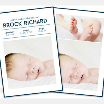Baby Boy Birth Announcement - Baby Announcement, Custom - Photo Card - Brock