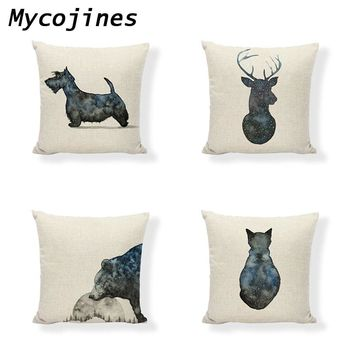 Scotch Terrier Pillow Covers Animal Cushion Cover 45*45cm Cat Dolphin Shark Bear Car Home Sofa Bedding Decoration Pillow Cover