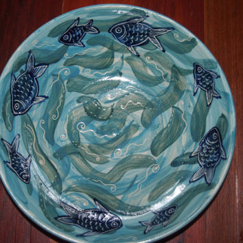 FISH bowl Handmade and hand decorated serving bowl fish waves ocean colours stoneware