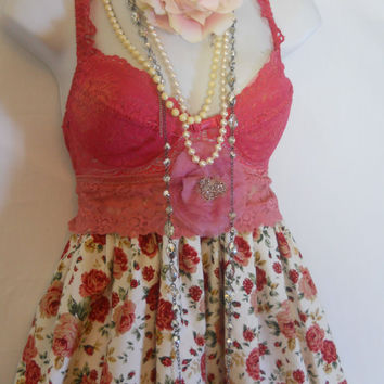 Boho roses dress red cotton  baby doll prom ruffles  vintage  rose  bohemian  medium  by vintage opulence on Etsy