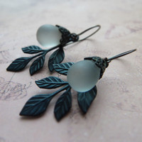 Black leaf and white drop earrings / oxidized brass, matte white Czech glass