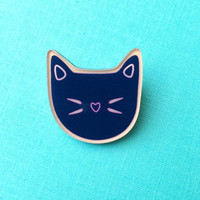 "Handmade ""Feelin' Feline"" Black Cat Head Pin with Heart Shaped Nose"
