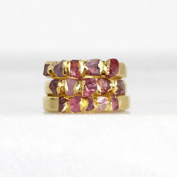 raw garnet ring | raw ruby ring | natural spinel ring | july birthstone ring | january birthstone ring | ruby crystal ring | stacking ring