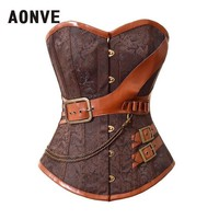 AONVE Brown Steampunk Corset Women Waste Trainer Sexy Corsets And Bustiers Burlesque Corselet Halloween Steam Punk Straitjacket