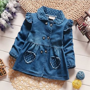 BibiCola  Baby Girls Denim Jacket Girl Clothes for Girl Toddler Baby Lovely Heart Protect Dot  Girls Jeans Jacket