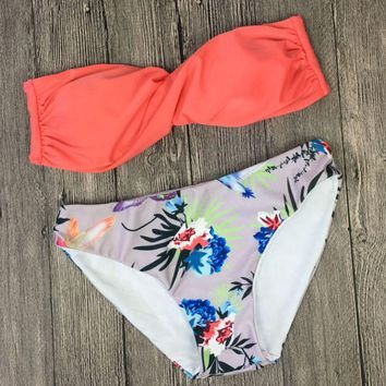 Kalete Upper orange rose red strapless bottom flower print two piece bikini