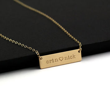 """SALE - Gold Bar Necklace, Personalized Name Bar Necklace, Bar Necklace Gold, Gold Name Plate Necklace COUPON CODE """"TAF111"""" FOR FREE SHIPPING"""