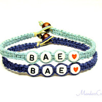 Bae Bracelets for Couples or Best Friends, Light and Dark Blue Hemp Jewelry, Set of Two, Made to Order
