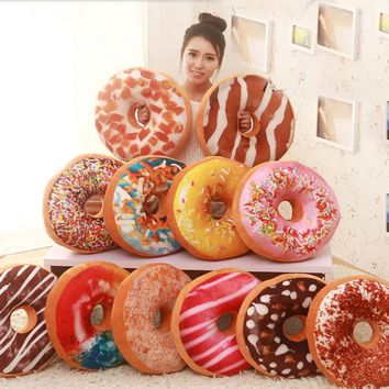 New Round Donut Doughnut Pillow Chocolate Donuts Plush Macaron Food Cushion PP Cotton filled Nap Pillow Doughnut Pillowcase B236