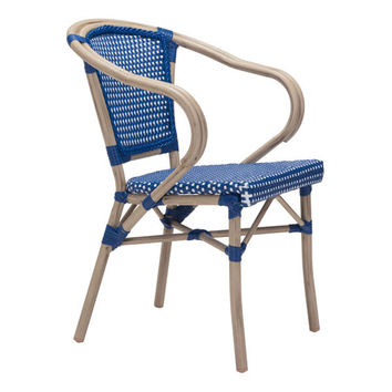 PARIS DINING ARM CHAIR NAVY BLUE&WHITE PACK OF 2