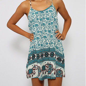 Green Printed Halter A-Line Mini Dress