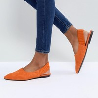 Vagabond Katlin Orange Suede Sling Back Pointed Flat Shoes at asos.com